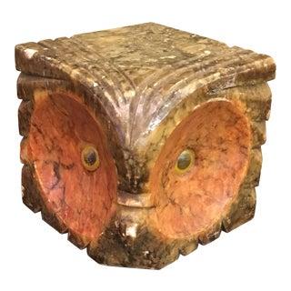 Italian Mid-Century Hand Carved Alabaster Owl