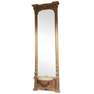 "105"" Gilt Hall Mirror with Marble Bench"
