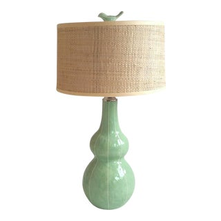 Light Green Tall Ceramic Lamp