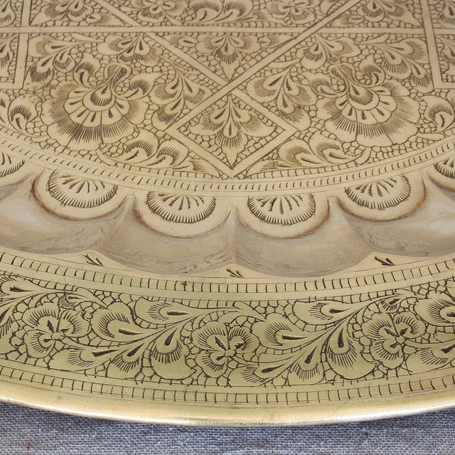 Vintage Persian Engraved Brass Tray - Image 5 of 6