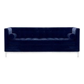Jonathan Adler Lampert Navy Velvet Tufted Tuxedo Sofa