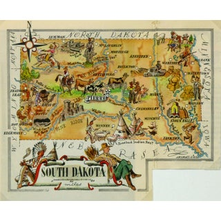 Vintage South Dakota Pictorial Map, 1946