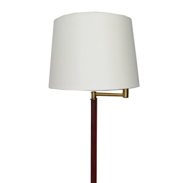 mcm brass wood minimalist floor lamp chairish With mcm wood floor lamp