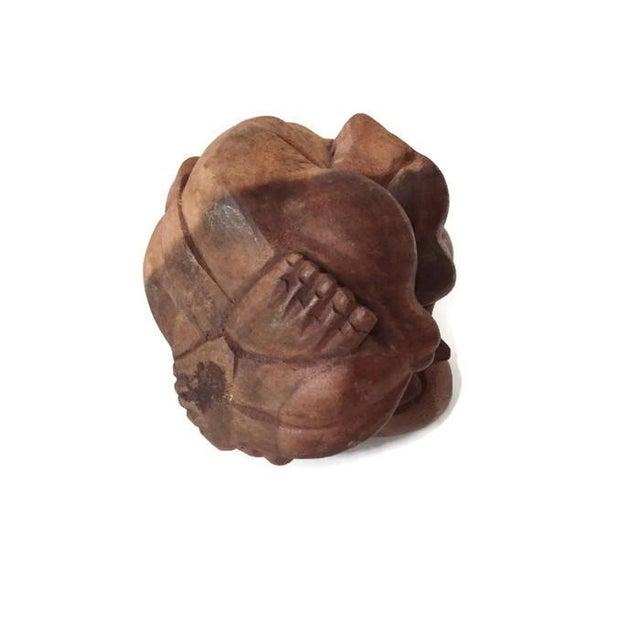Vintage Carved Wood Meditation Monk Statue Display - Image 7 of 7