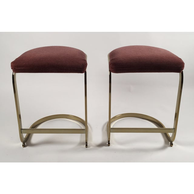 Milo Baughman Style Cantilever Bar Stools - A Pair - Image 3 of 7