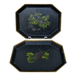 Vintage Small Tole Trays, a Pair
