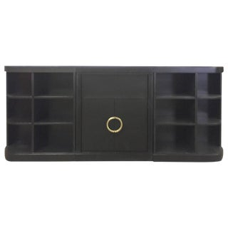 Hollywood Regency Ebonized Wood Bookcase Credenza
