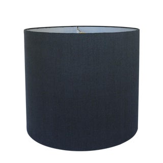 Navy Linen Drum Lamp Shade