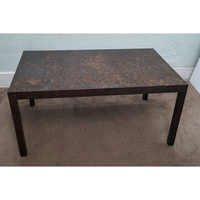 Drexel Faux Tortoise Shell Parsons Dining Table - Image 3 of 9