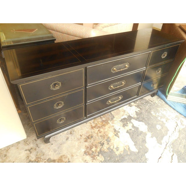 American of Martinsville Black Lacquer Dresser - Image 4 of 8