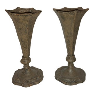 Gothic Cast Iron Vases - a Pair
