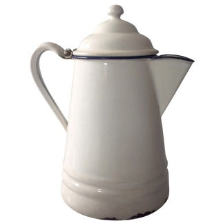 French Country White Enamel Pitcher