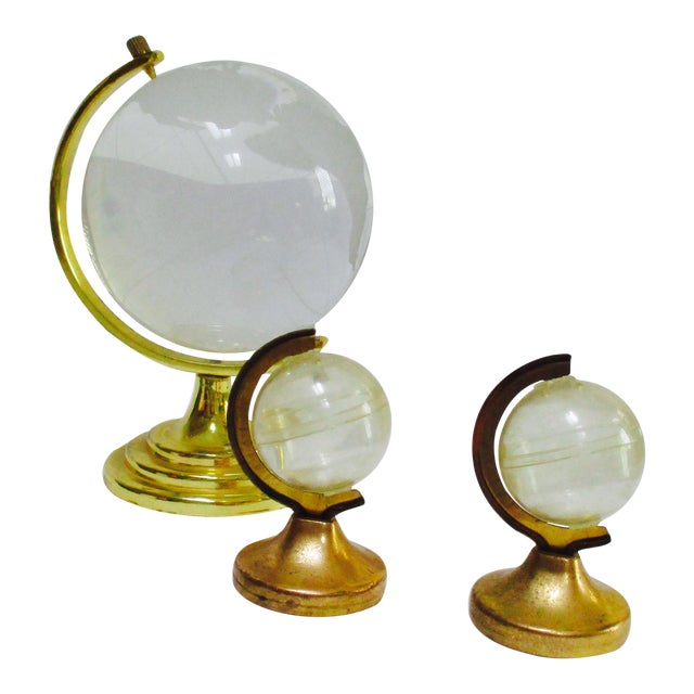 Glass Globe Paperweight & Lucite Miniature Globes - Set of 3 - Image 1 of 5