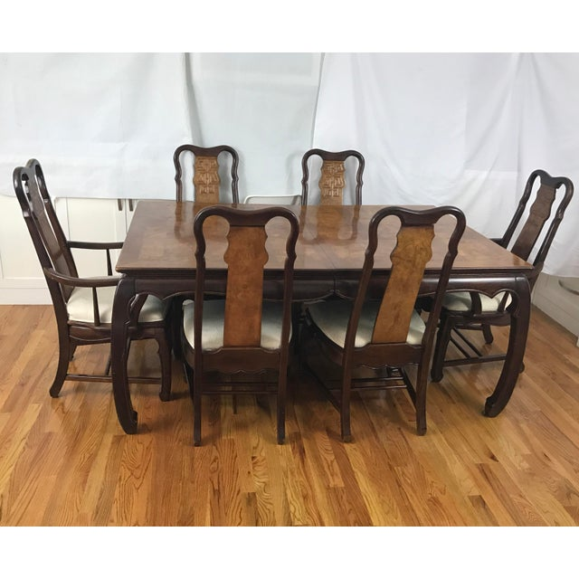 Chinese chippendale style dining table six chairs 7 for Asian style dining table and chairs