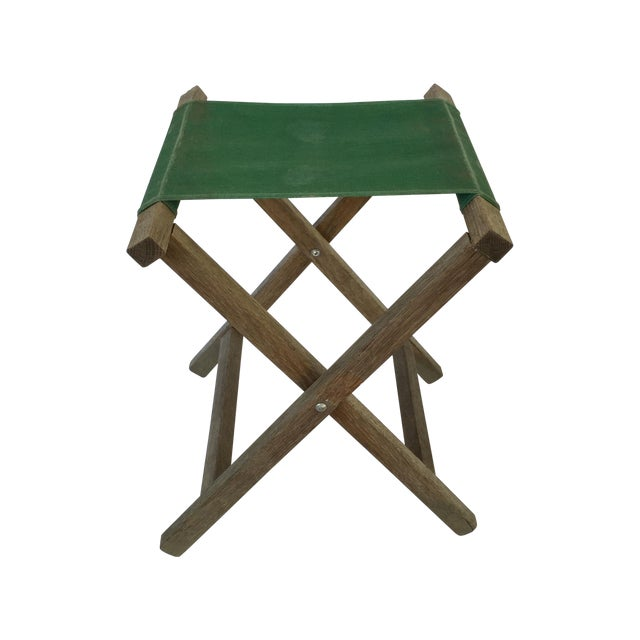 Image of Green Folding Camp Canvas Stool