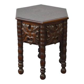 Antique Victorian Renaissance Northwind Carved Oak Hexagon Taboret Side Table
