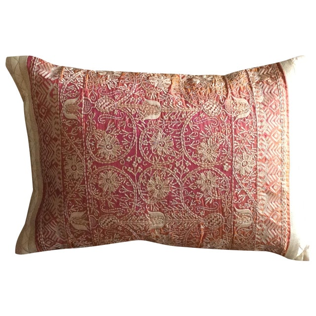 Embroidered Handwoven Copper Silk Pillow - Image 1 of 5