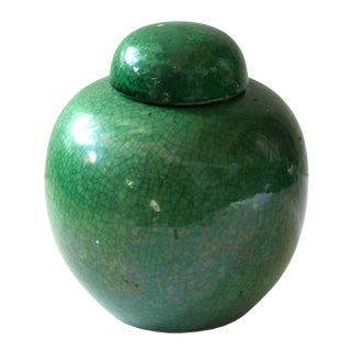 1900's Green Glazed Crackle Jar