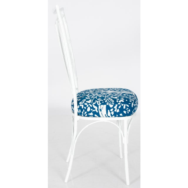 Chinoiserie White Powder-Coated Metal Faux Bamboo Dining Set - Image 8 of 9