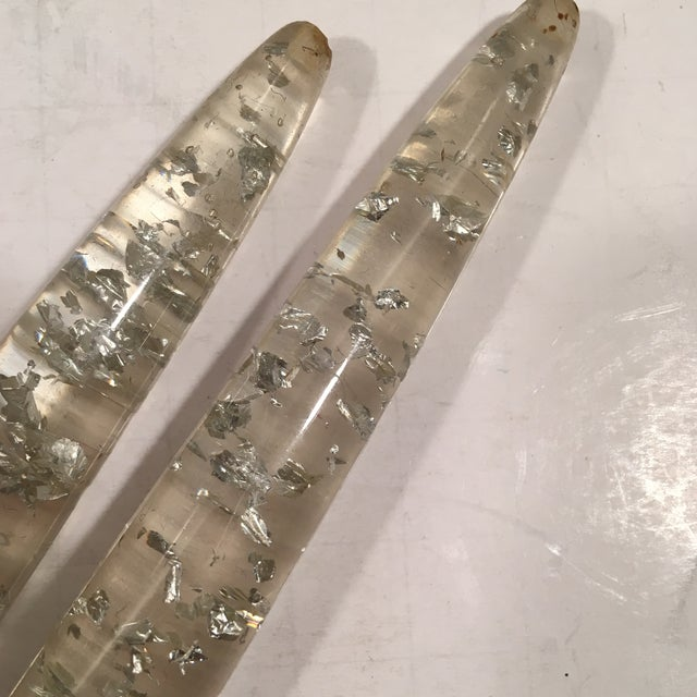 Vtg Silver Foil Fleck Faux Lucite Candles - Pair - Image 3 of 5