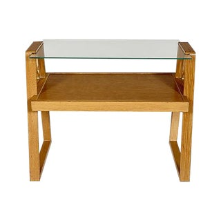 1950s Oak & Glass Top Side Table