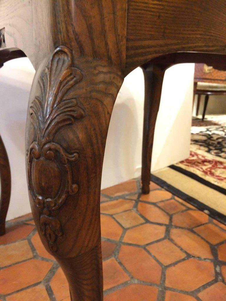 Rich Oak And Tooled Leather Game Table   Image 11 Of 11