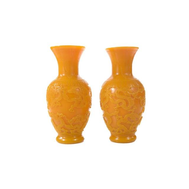 Chinese Carved Yellow Peking Glass Vases Pair Chairish