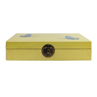Chinese Yellow Rectangular Butterflies Box