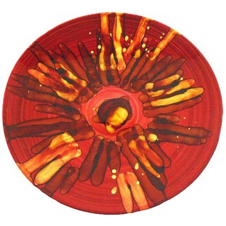 Vintage Red & Gold Art Glass Charger