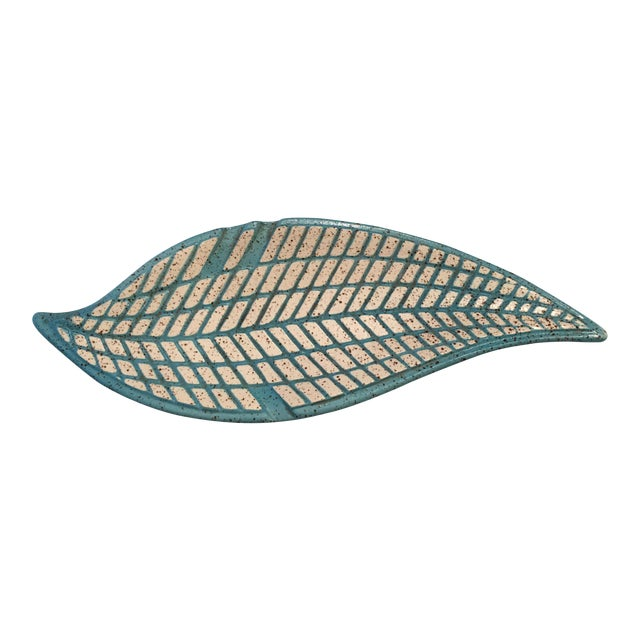 Mid-Century Modern Turquoise Pottery Leaf Tray - Image 1 of 4
