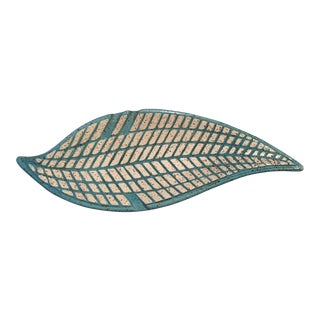 Mid-Century Modern Turquoise Pottery Leaf Tray