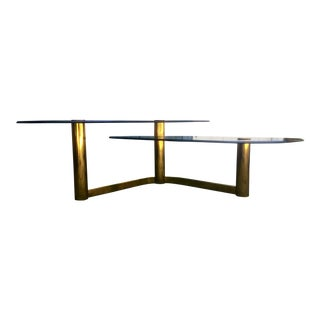 Vintage Brass Finish Two Tier Boomerang Table