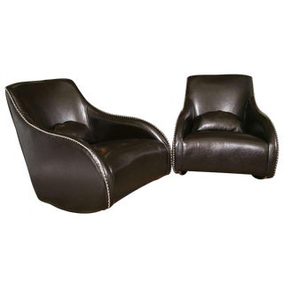 Art Deco Black Leather Sleigh-Back Rockers - A Pair