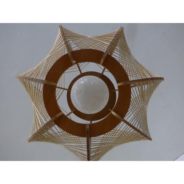 Danish Modern Wood Woven Geometric Swag Lamp - Image 4 of 7