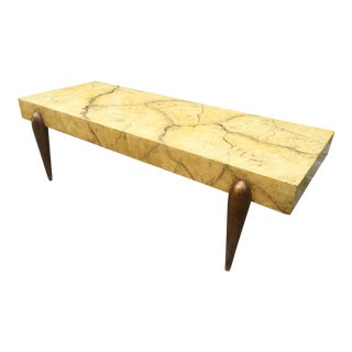 1940's Hollywood Regency Faux Marble Coffee Table