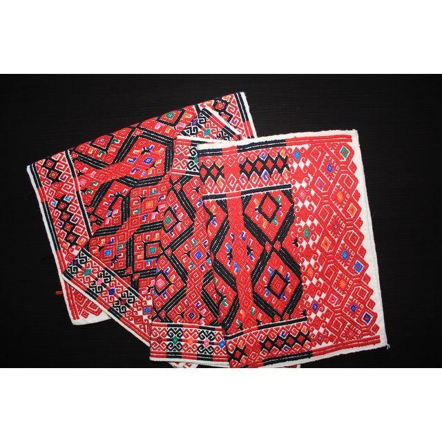 Handwoven Red Brocade Placemats - Set of 4 - Image 2 of 4