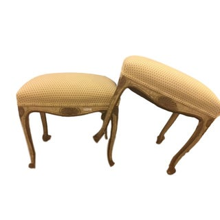 French Carved and Painted Stools with Gilt - Pair