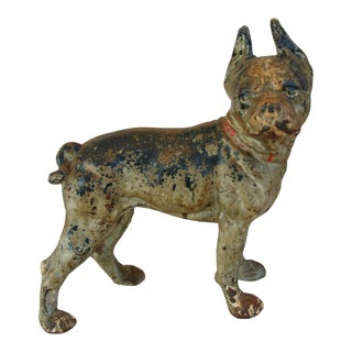 1940s Cast Iron Boston Terrier Dog Doorstop