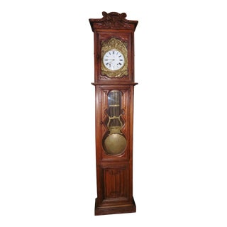19th Century French Carved Oak Grandfather Clock