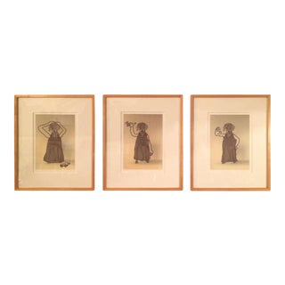 Three Framed Dog Photo/Illustrations by Rare William Wegman