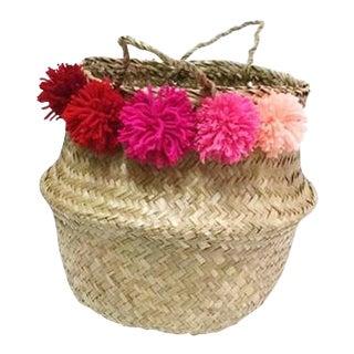 Pink Pom Pom Sea Grass Belly Basket