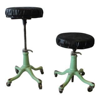 1930s American Adjustable Swivel Stools
