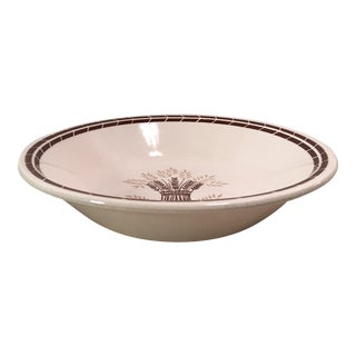 Mid-Century Modern Cream & Brown Wheat Serving Bowl