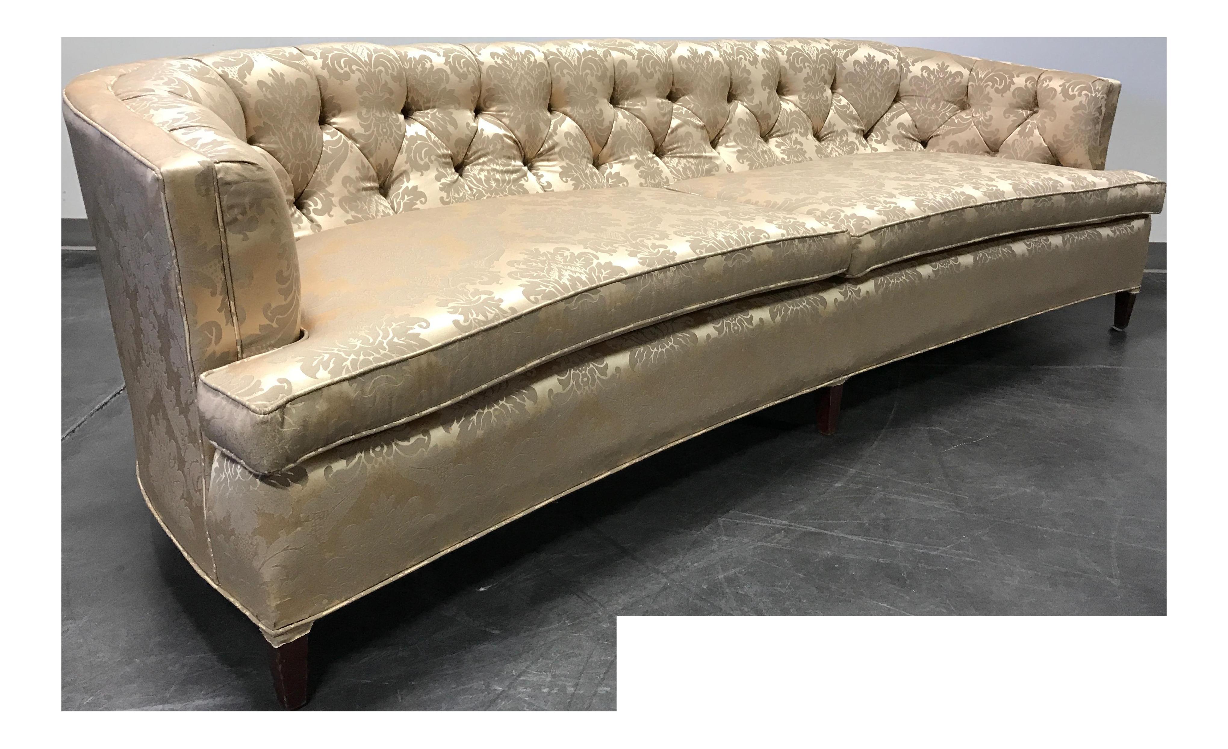 vintage mid century regency curved tufted sofa chairish