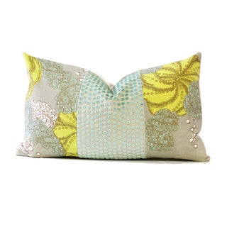 Designer Yellow and Green Down Pillow