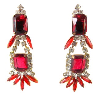 Czech Chunky Red Clear Rhinestone 3.5  Earrings