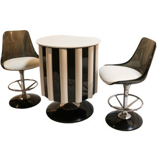 Chromcraft Mid-Century Modern Bar & Stools - Set of 3
