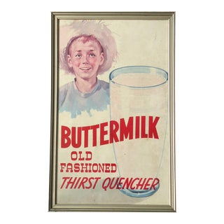 Framed Buttermilk Grocery Store Poster, Circa 1950s
