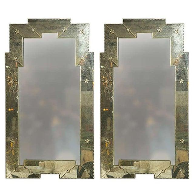 Art Deco Style Distressed Venetian Mirrors - Pair - Image 1 of 5