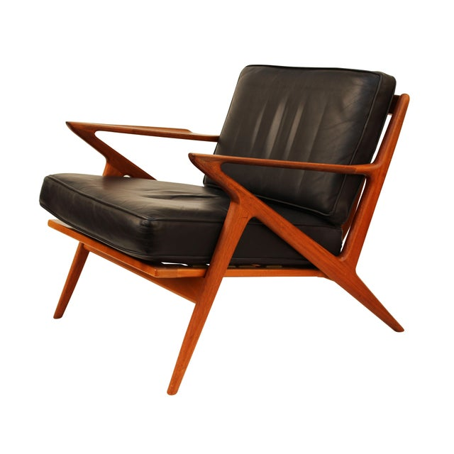 Poul jensen for selig teak and leather z chair ottoman for Poul jensen z chair